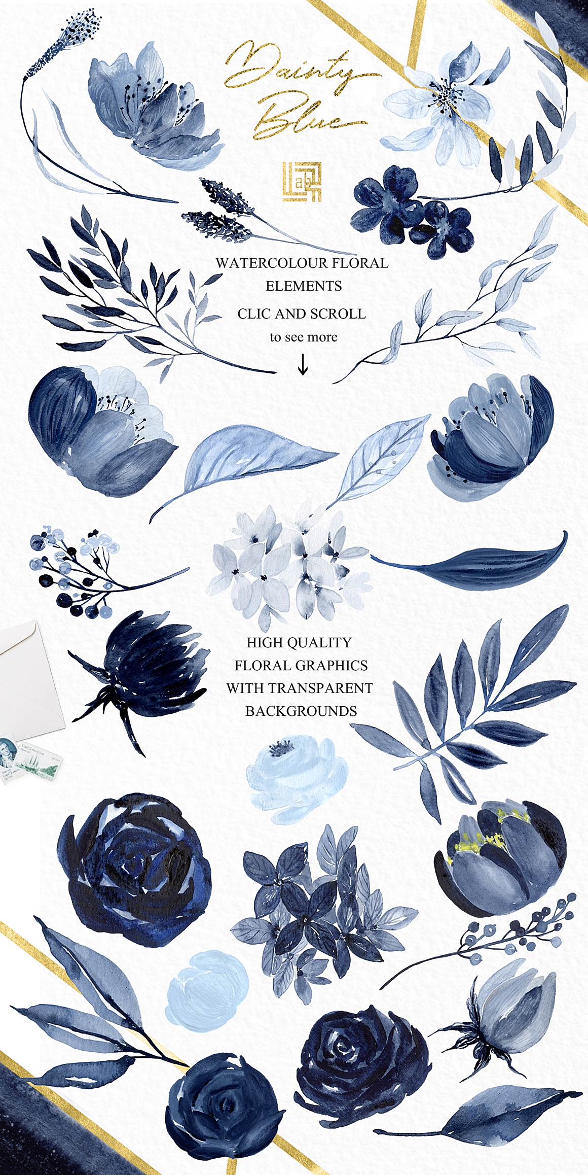 Dainty Blue Navy Blue Flowers