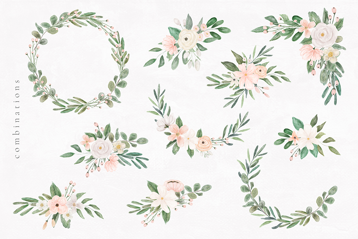 Delicate Watercolor Wedding Florals Pack