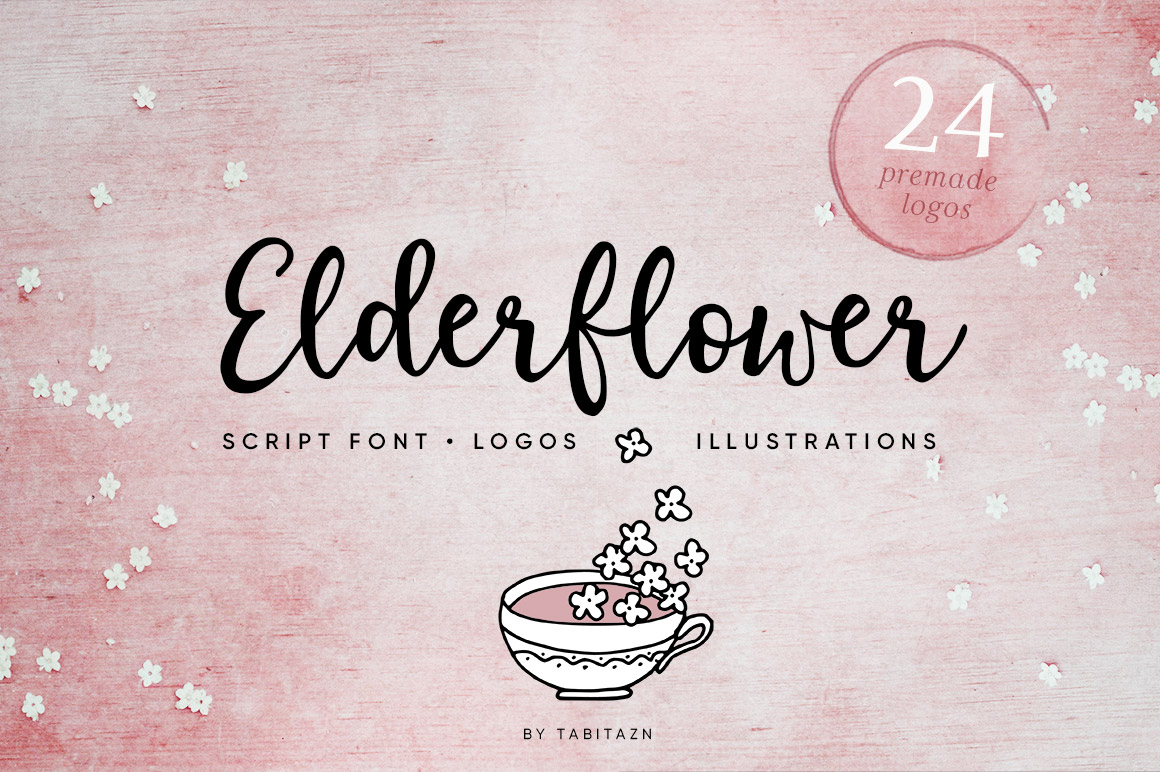 Elderflower Script Font, Logos & Illustrations