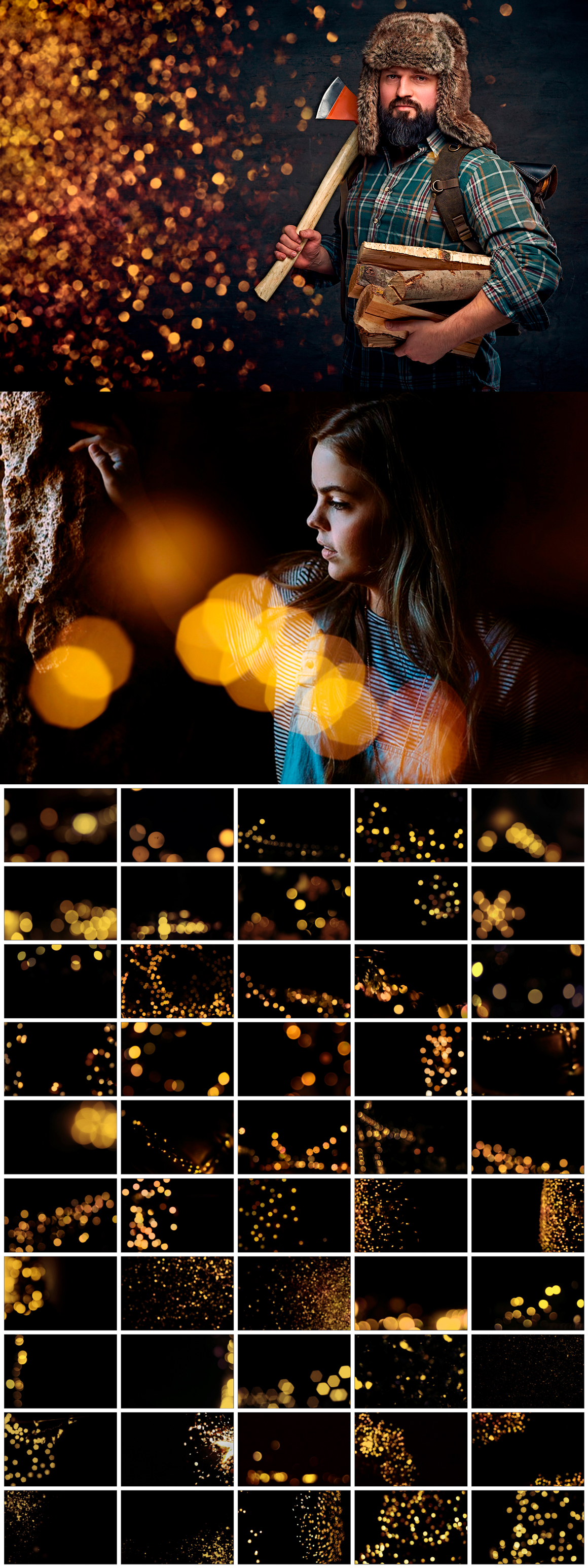 Golden Bokeh Photo Overlay Effects