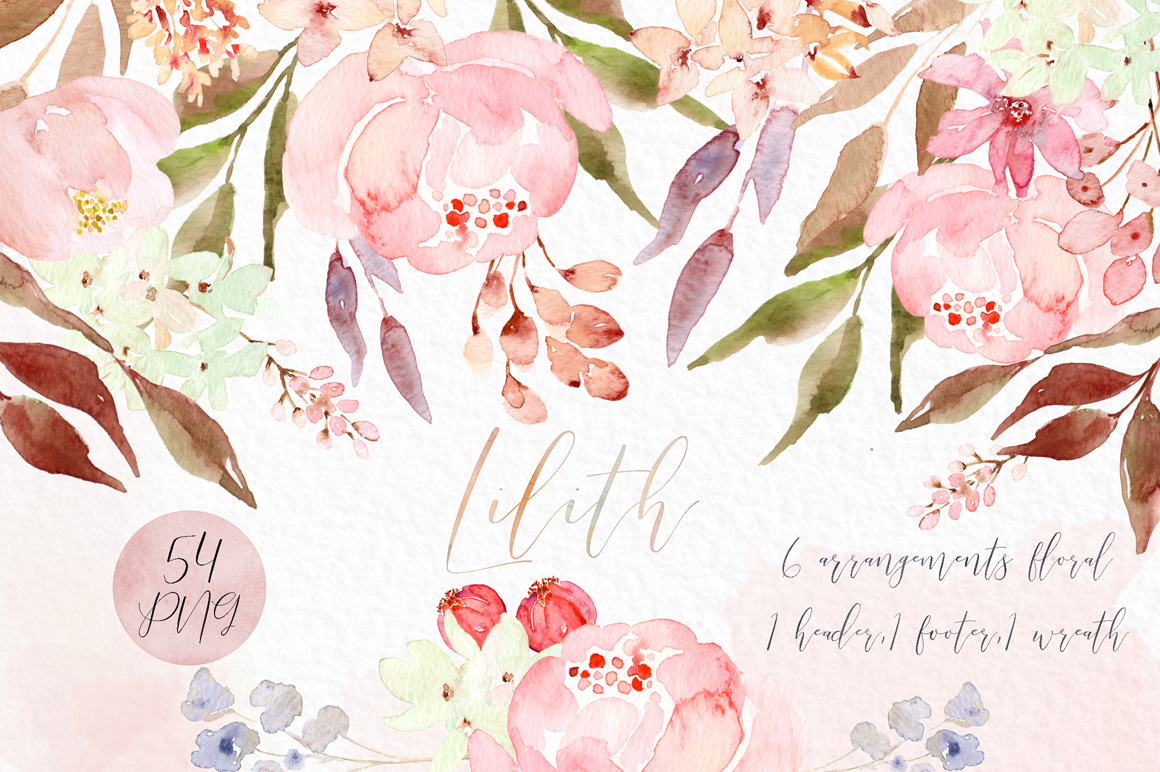 Lilith Pink Watercolour Flowers Clipart Design Cuts