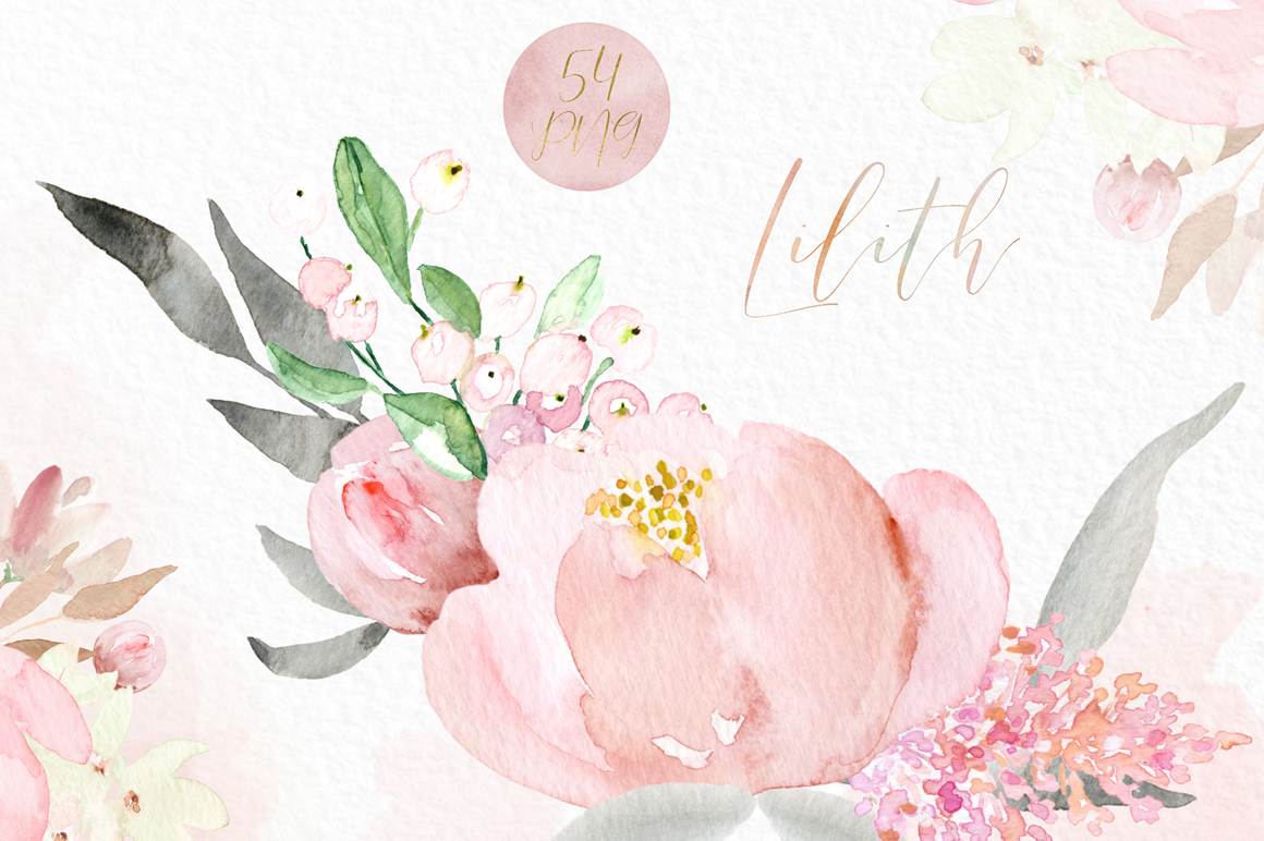 Lilith Pink Watercolour Flowers Clipart - Design Cuts