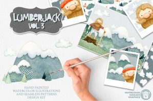 Lumberjack-Mountains-Watercolor-Illustrations- Kit-cover