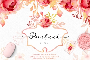 Purfect-Ginger-Watercolor-Roses-and-Cute-Kittens-cover