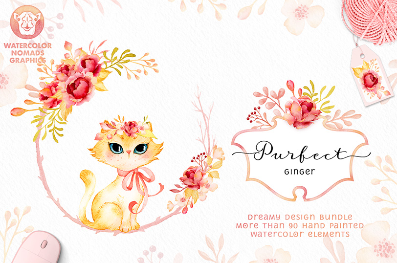Purfect Ginger - Watercolor Roses and Cute Kittens
