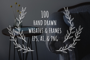 100-Hand-Drawn-Wreaths-And-Frames-cover