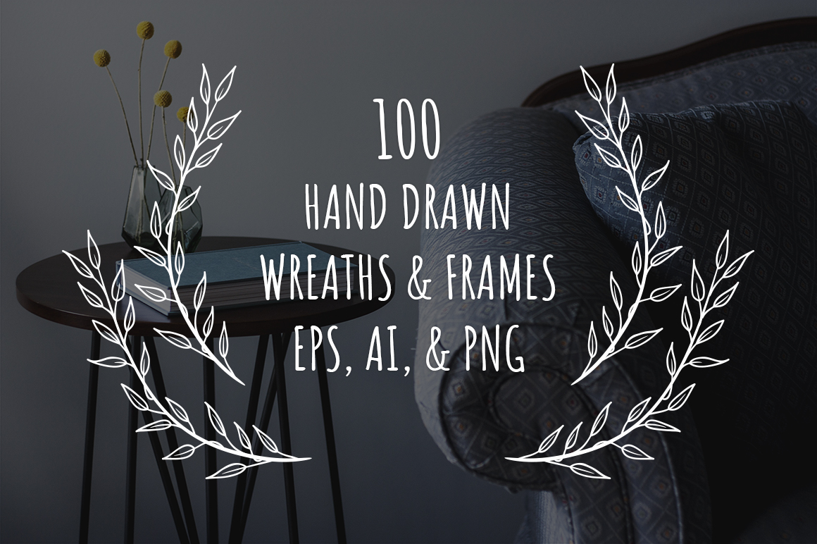 100 Hand Drawn Wreaths And Frames