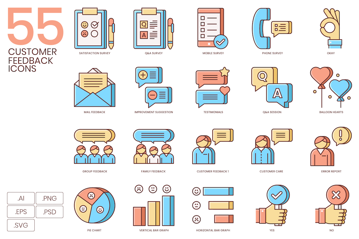 55 Customer Feedback Icons