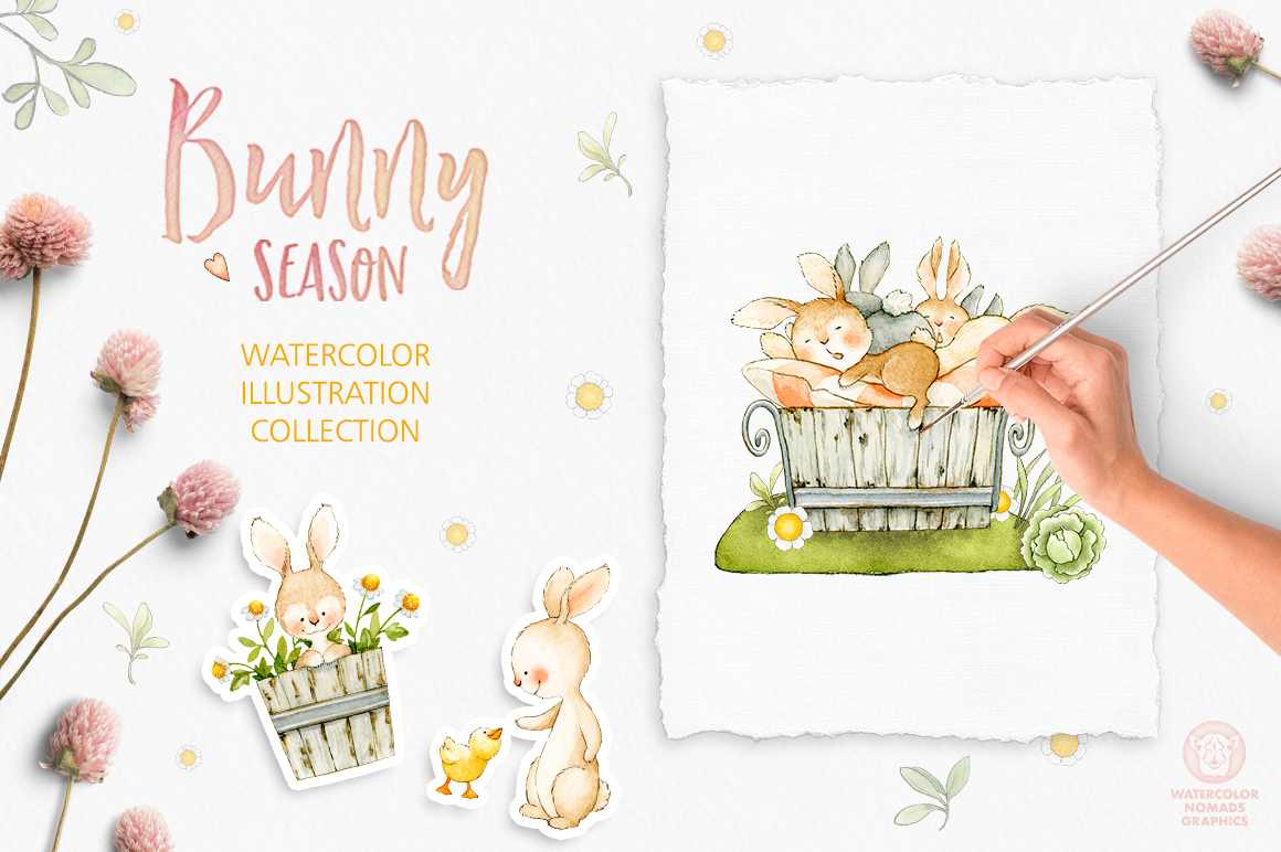 Bunny Season Watercolor Spring Collection