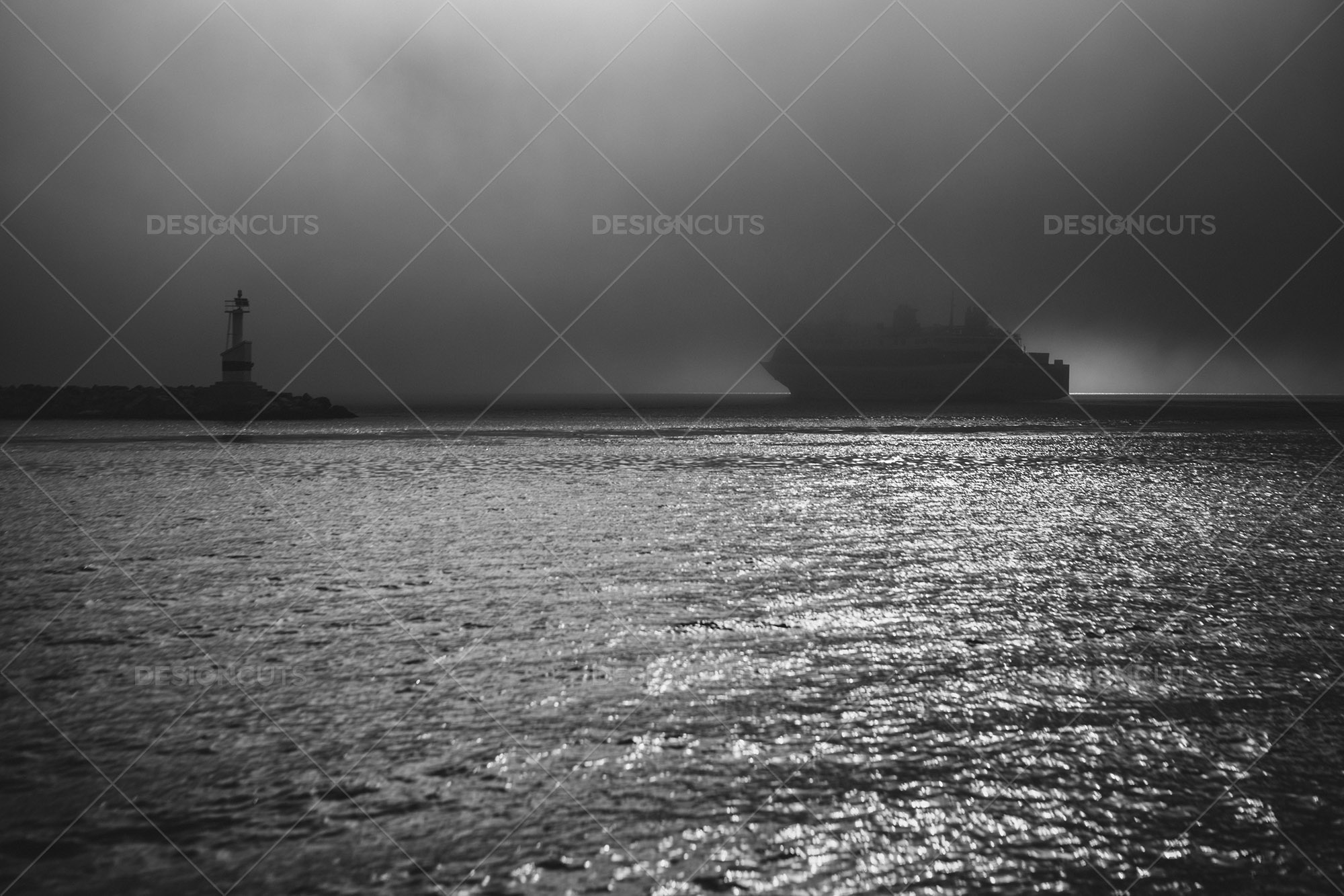 Ferry Leaving The Harbour And Floating In The Fog
