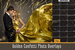Golden Confetti Photo Overlays