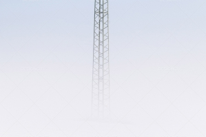 High Power Line Column In Mist