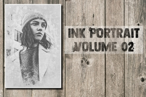 Ink Portrait Photoshop Template - Volume 02