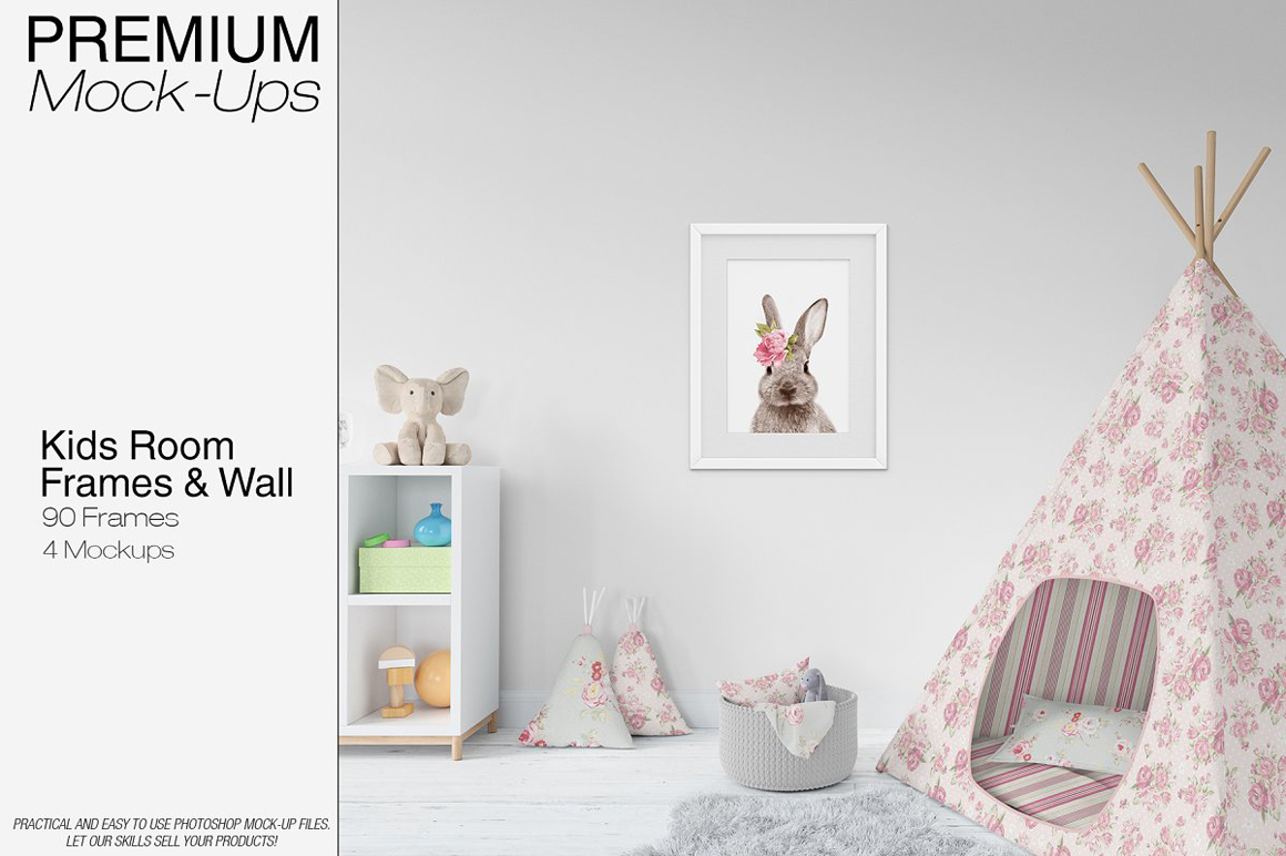 Kids Wigwam, Pouf, Wall And Frames Set