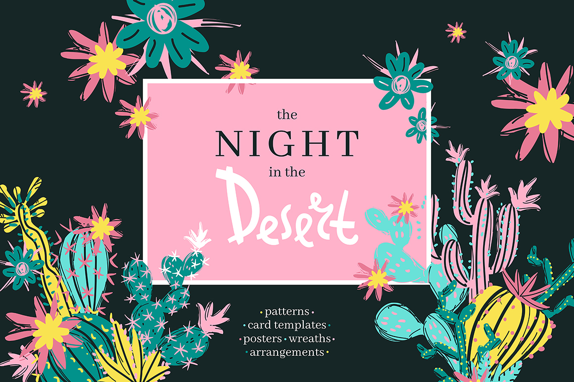 The Night in the Desert -  Cactus Clipart Collection