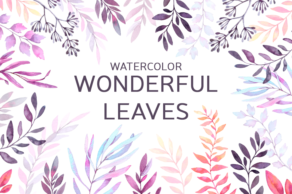 Watercolor Wonderful Leaves - Violet story