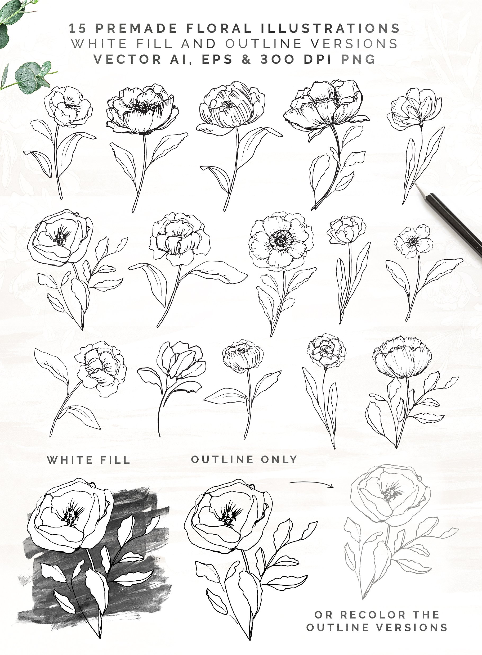 White Bloom Collection Floral Alphabet And Logos