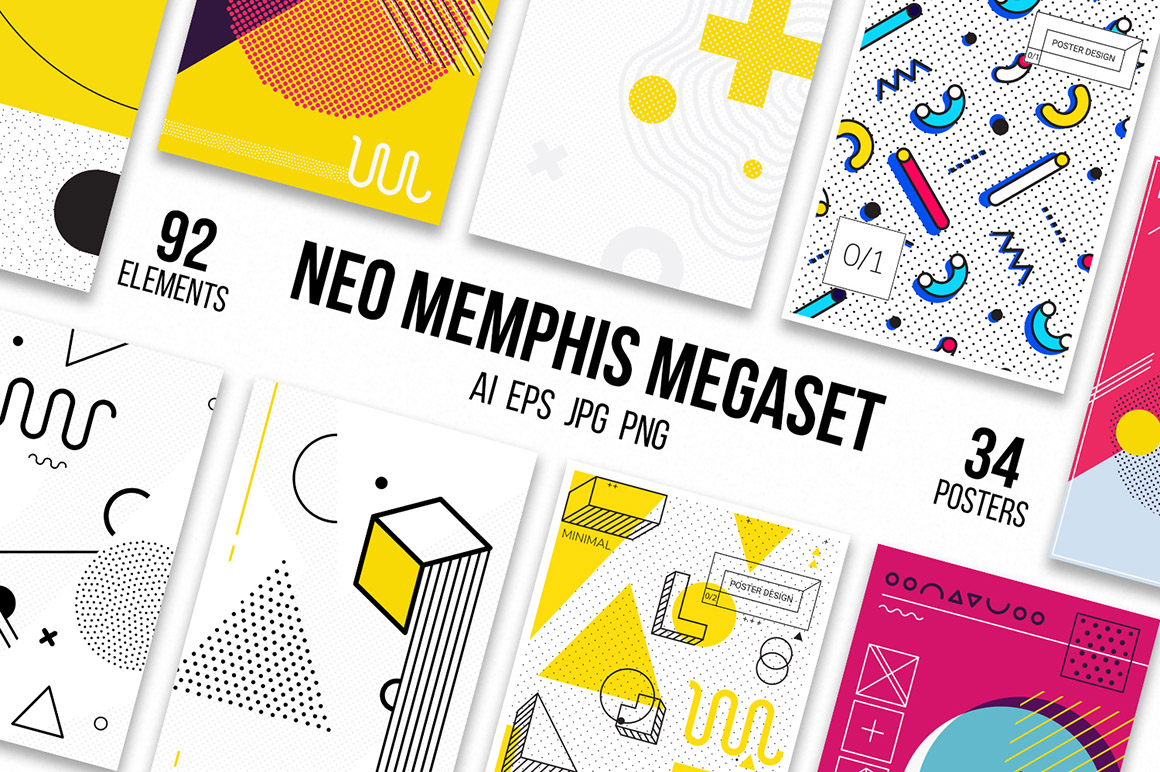 126 Posters & Elements Memphis Set