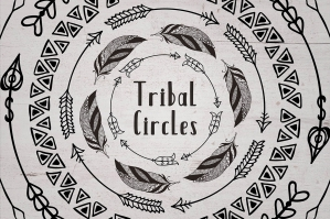 63 Drawn Tribal Circles Logo & Badge
