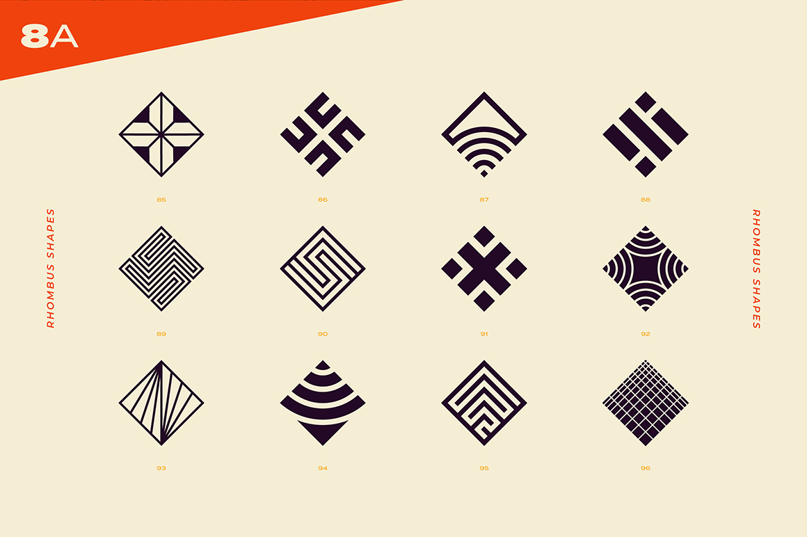 96 Abstract Logos & Geometric Shapes Collection