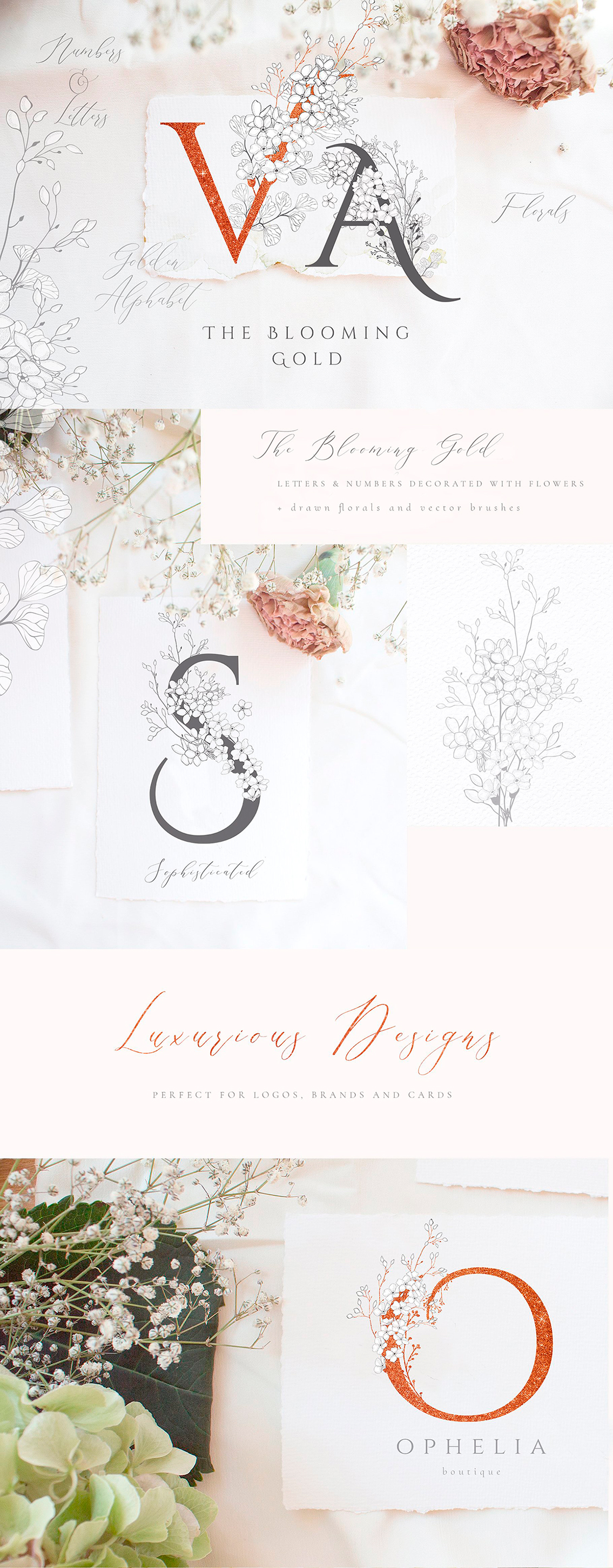 Blooming Gold Floral Letters and Numbers