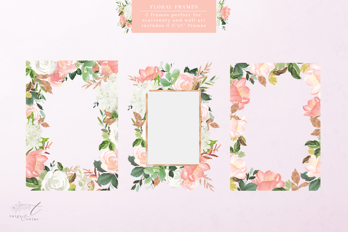 Blushed Watercolor Flower Miniset