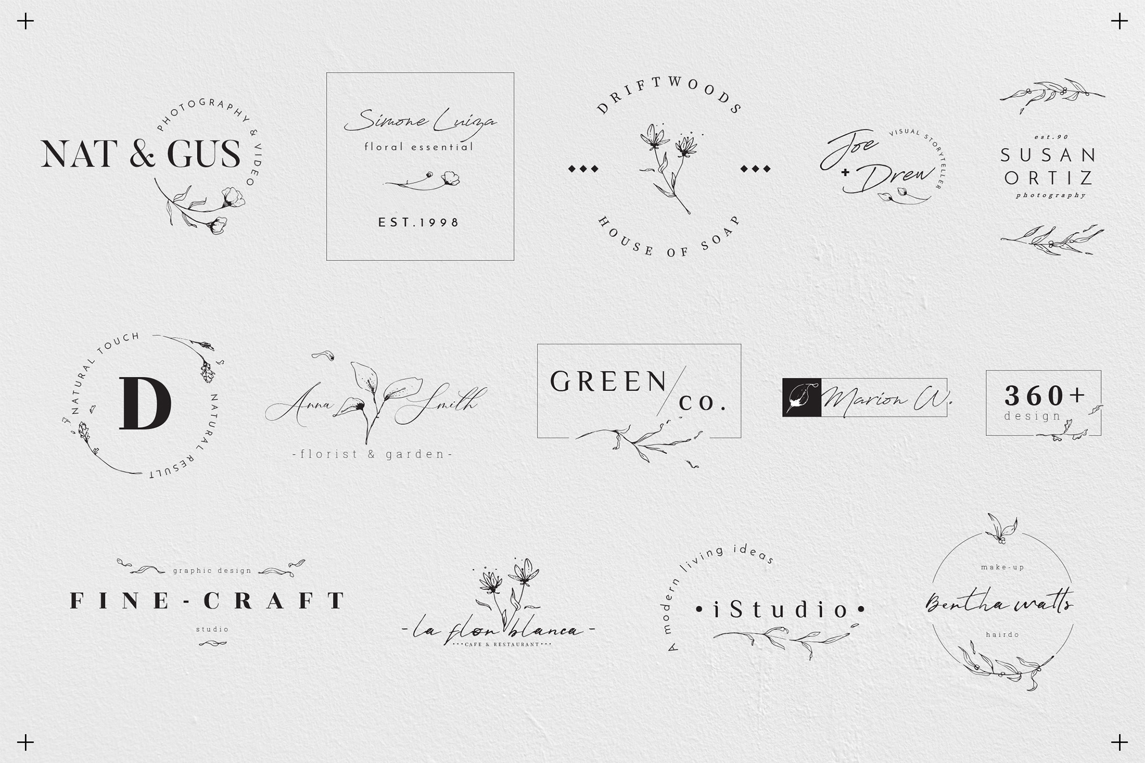 Floral Outline Illustration & Logo Pack