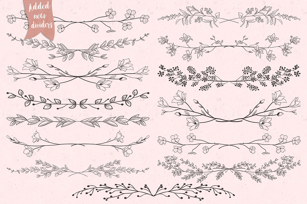 Floral Collection  - Drawn Florals, Patterns, Brushes