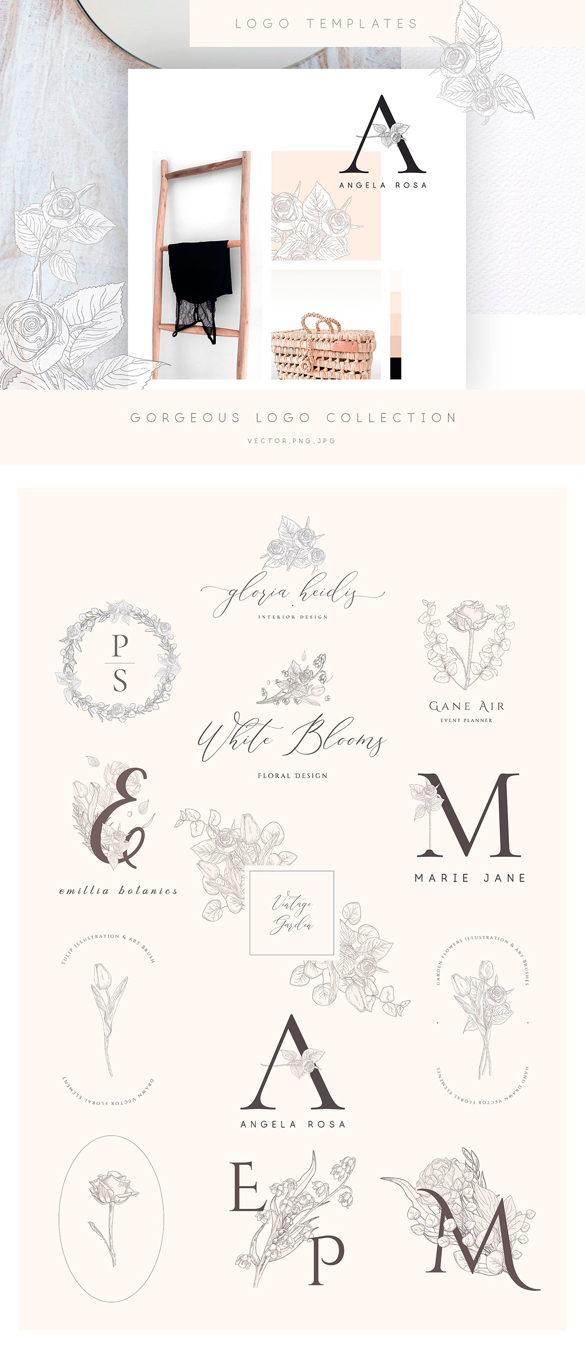 Floral Graphics, Logos, Seamless Patterns