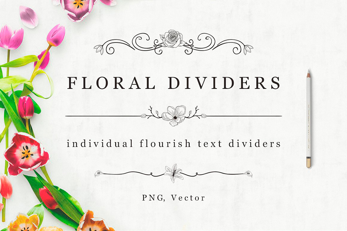 Flourish Decorative Text Dividers And Bonus Florals