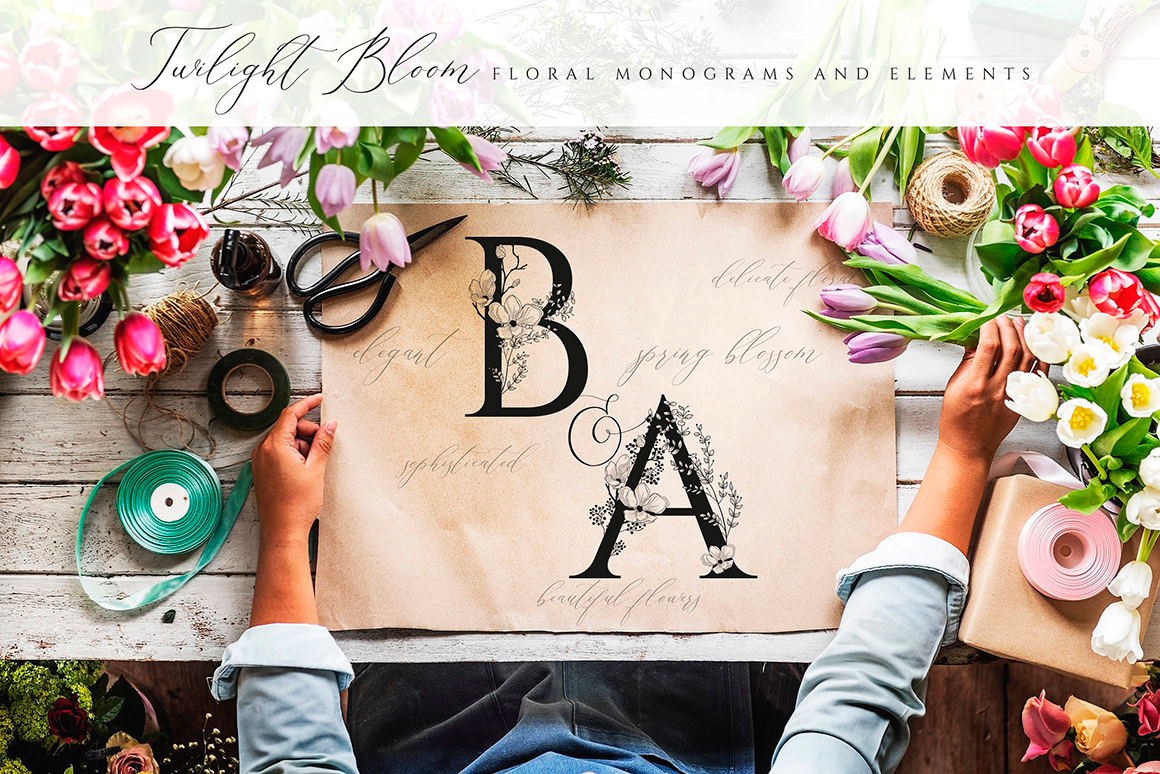Flowered Monograms & Floral Design Elements