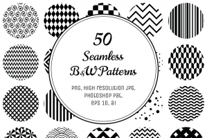 Geometric Black & White Seamless Patterns