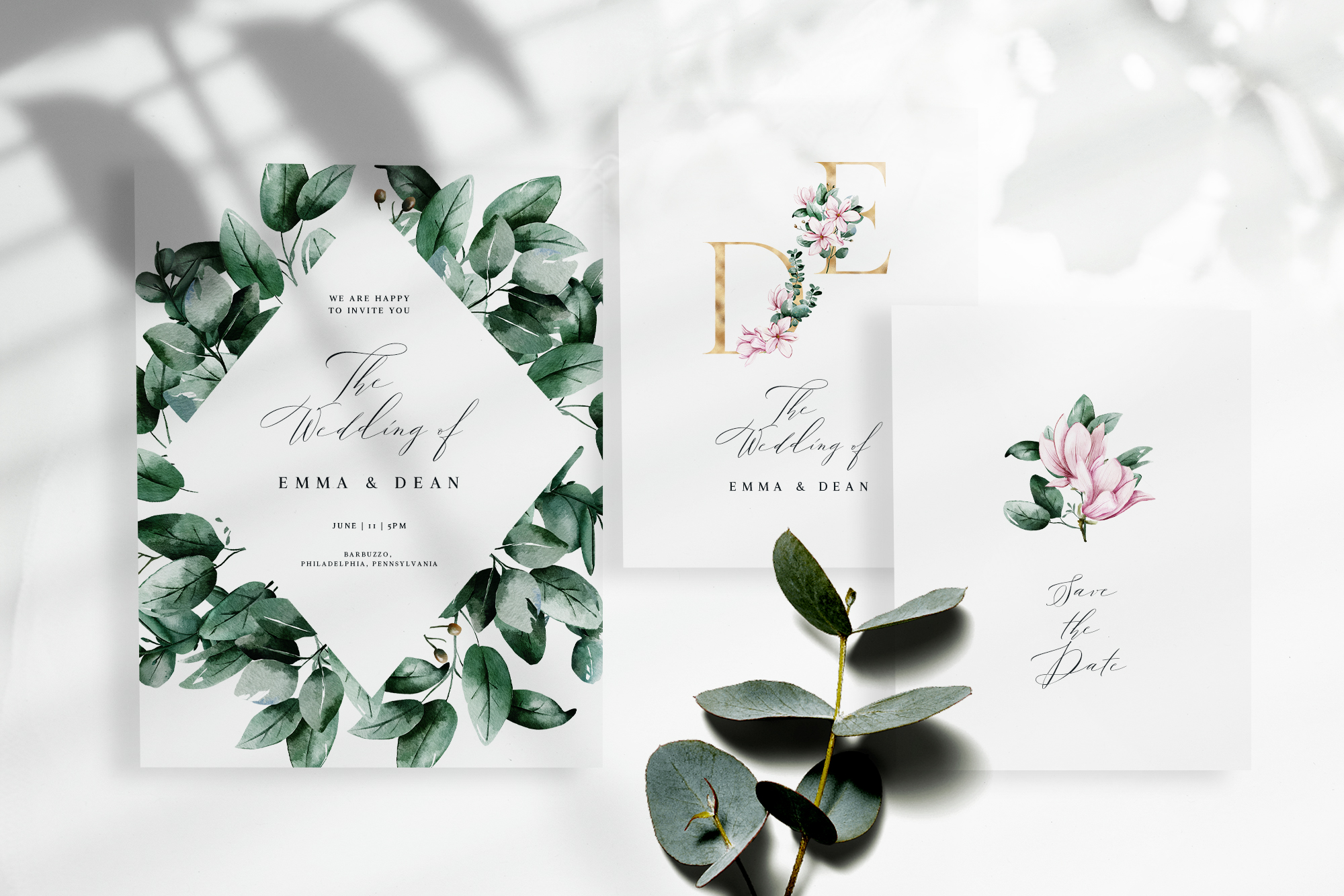 Magnolia & Eucalyptus Watercolor Set