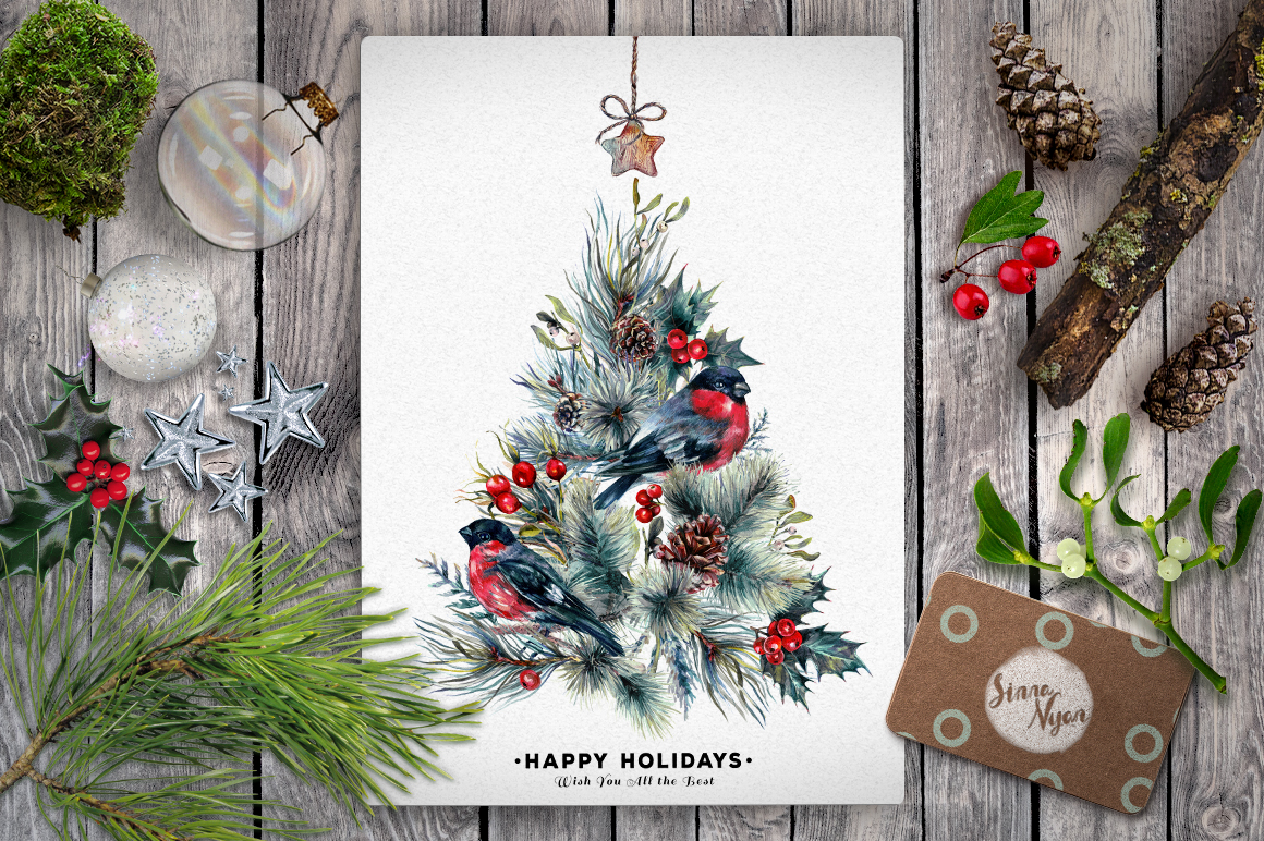 Mr. Bullfinch Watercolor Clip Art Xmas