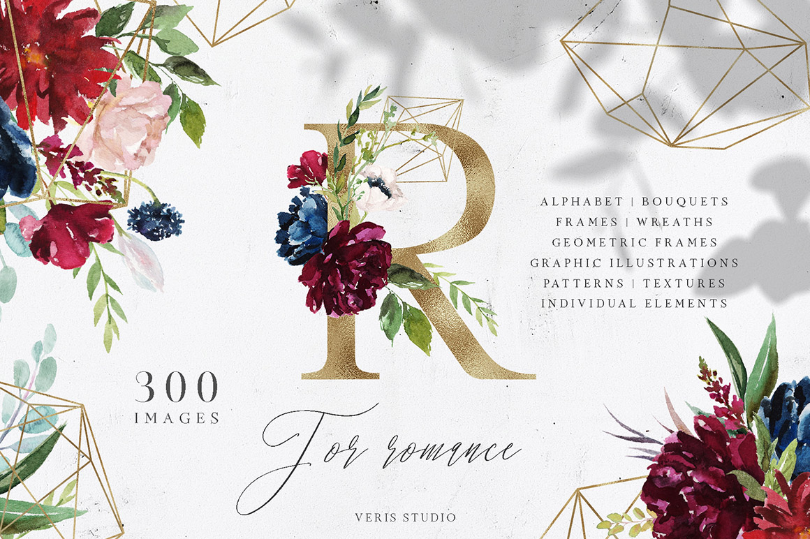 R For Romance - Massive Alphabet Floral Design Set