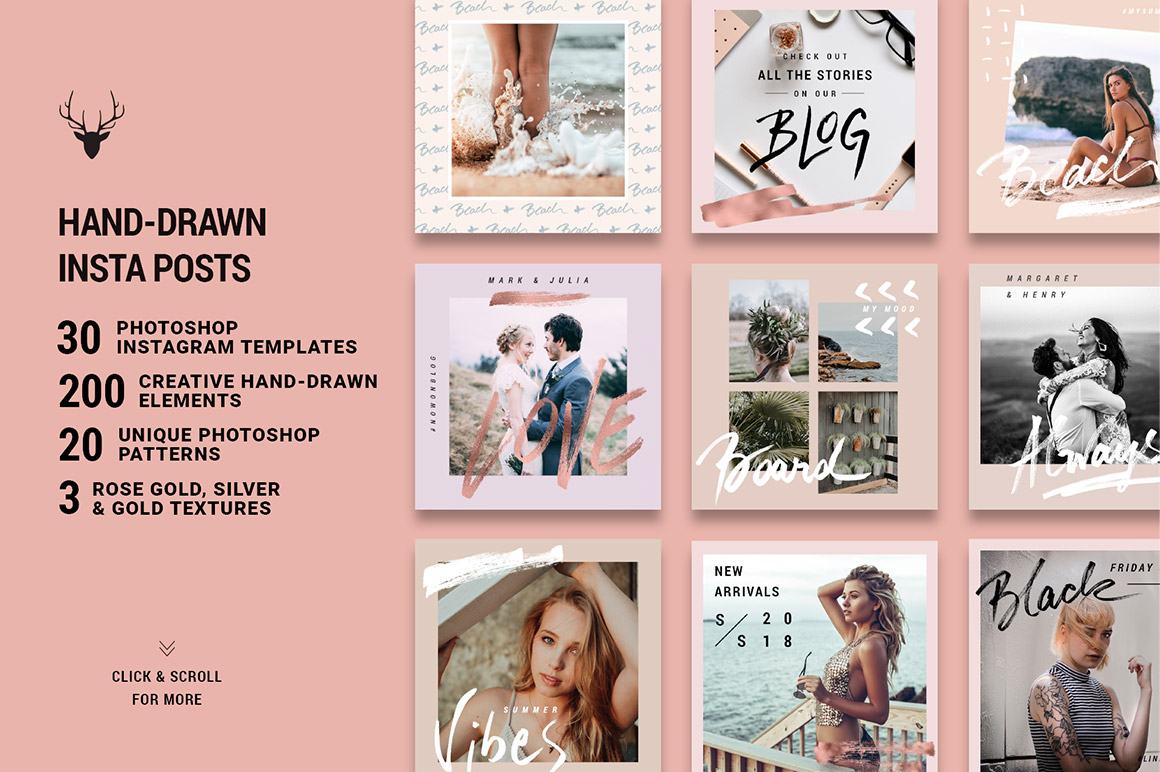 Rose Gold Hand-Drawn Instagram Post Templates - Design Cuts