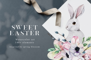 Sweet Easter - Spring Watercolor Set