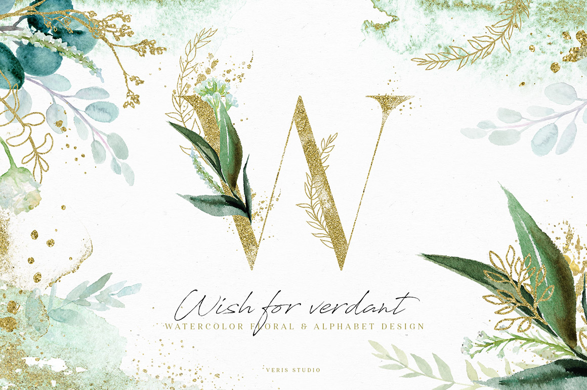 Wish For Verdant - Alphabet Floral Design Set