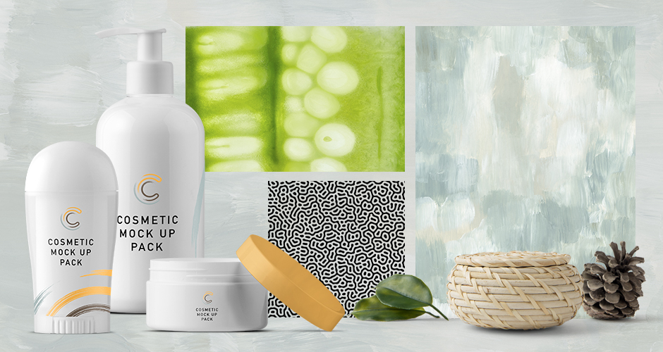 Textures and Patterns and Cosmetic Packaging Mockup
