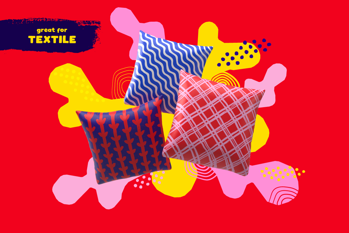 100 Hand-drawn Seamless Patterns and Shapes