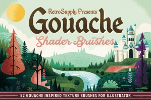 Basic-Gouache-Shader-Brushes-for-Illustrator-cover