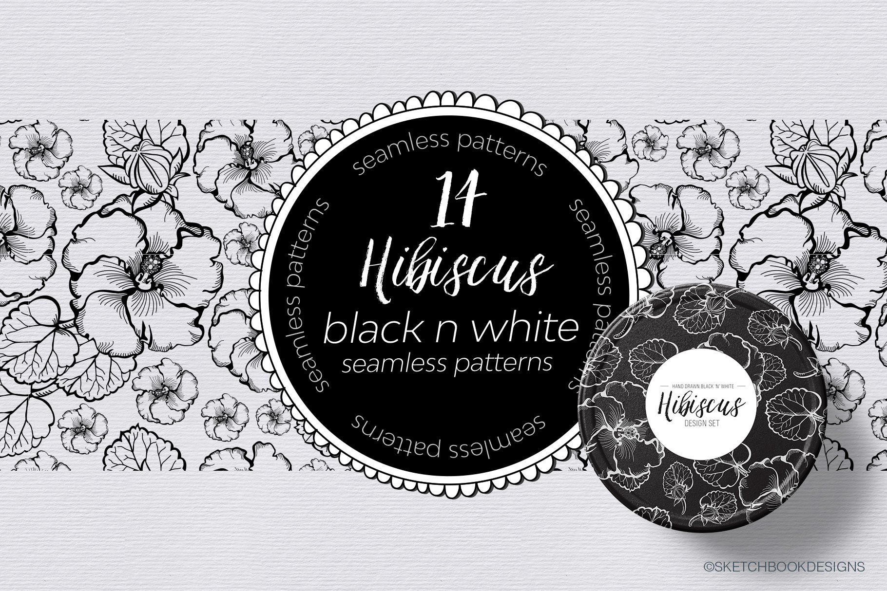 Black & White Hibiscus Design Set