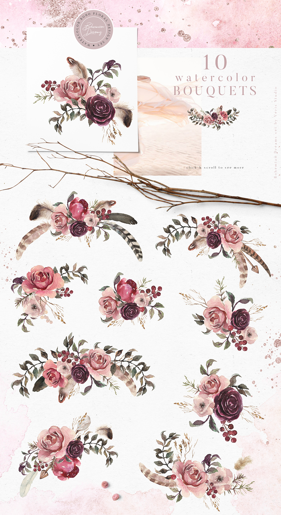 Bohemian Dreams - Floral Boho Design Set