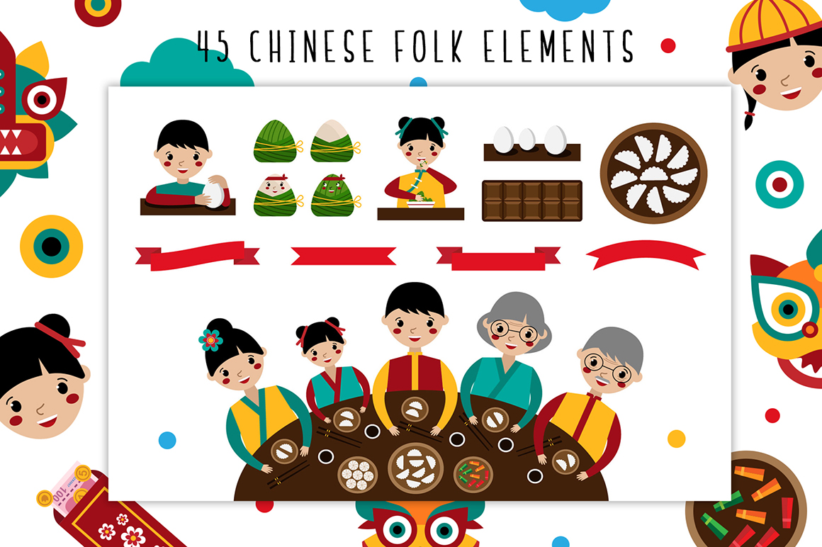 Chinese New Year - Holiday Folk Set