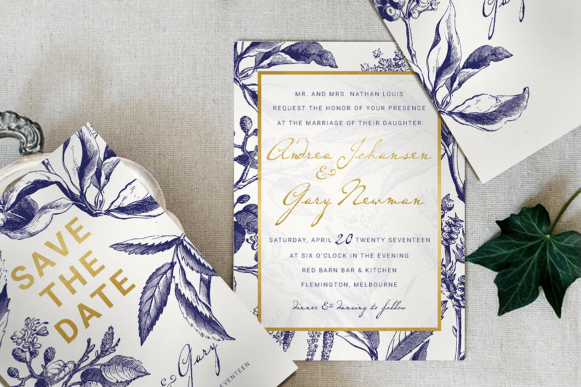 Gold & Navy Wedding Invitation Suite - Design Cuts