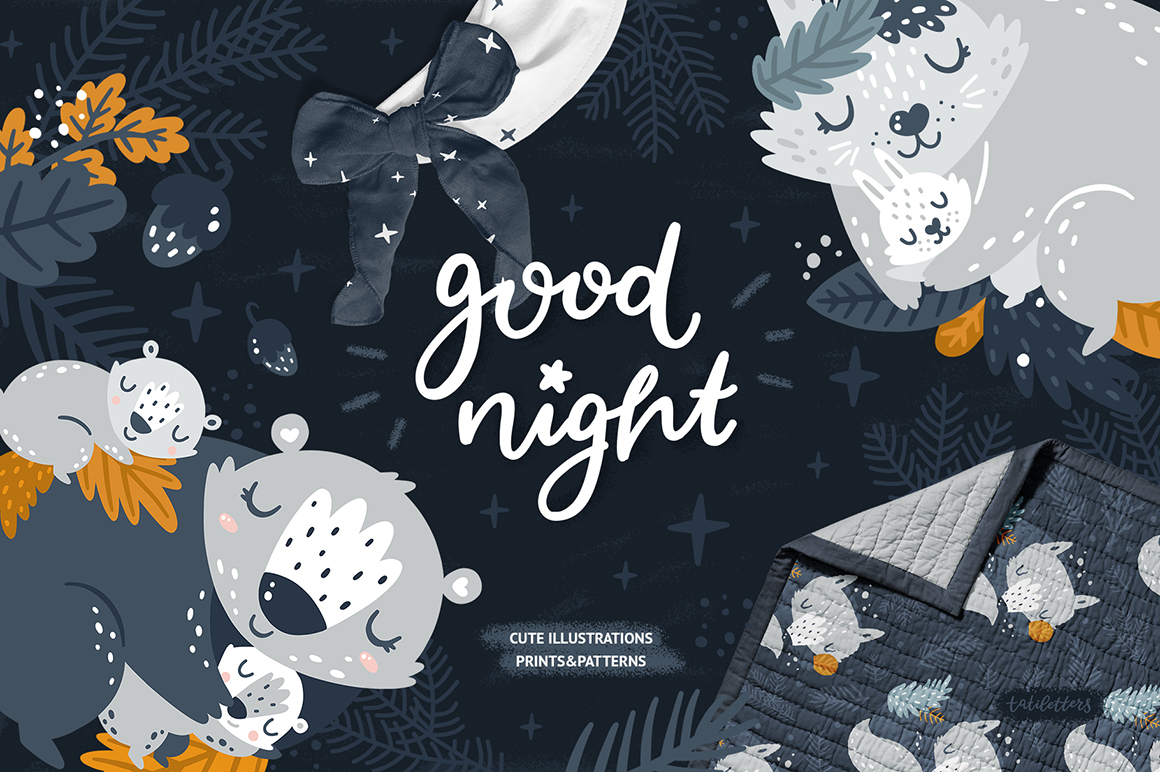 Good Night - Sleeping Forest Animals