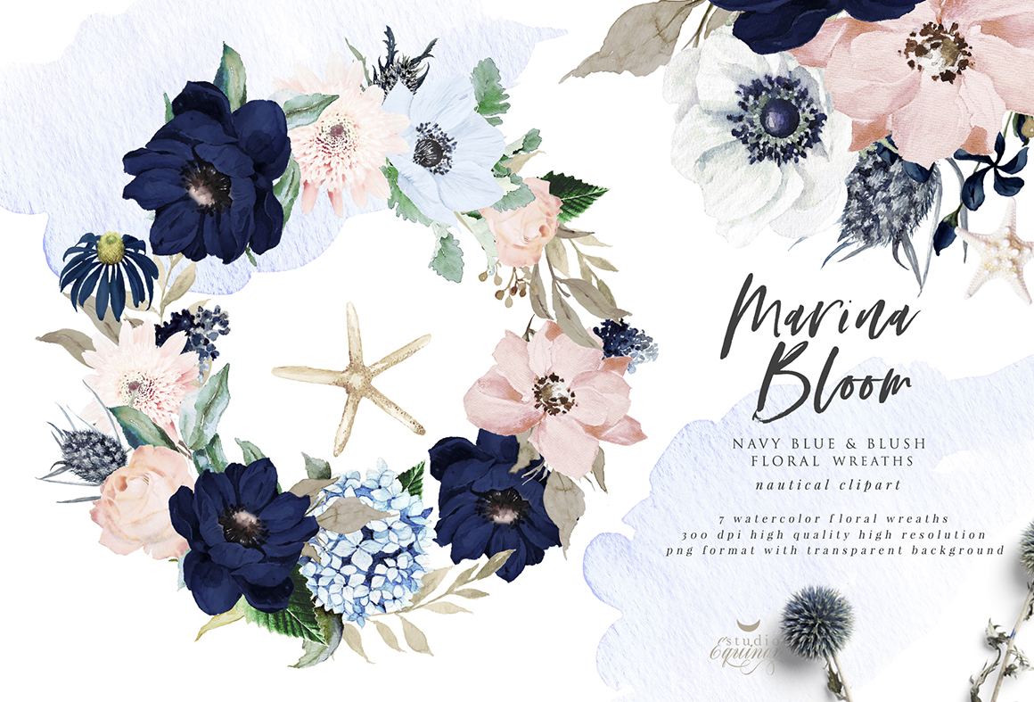 Marina Bloom Nautical Graphic Set Design Cuts