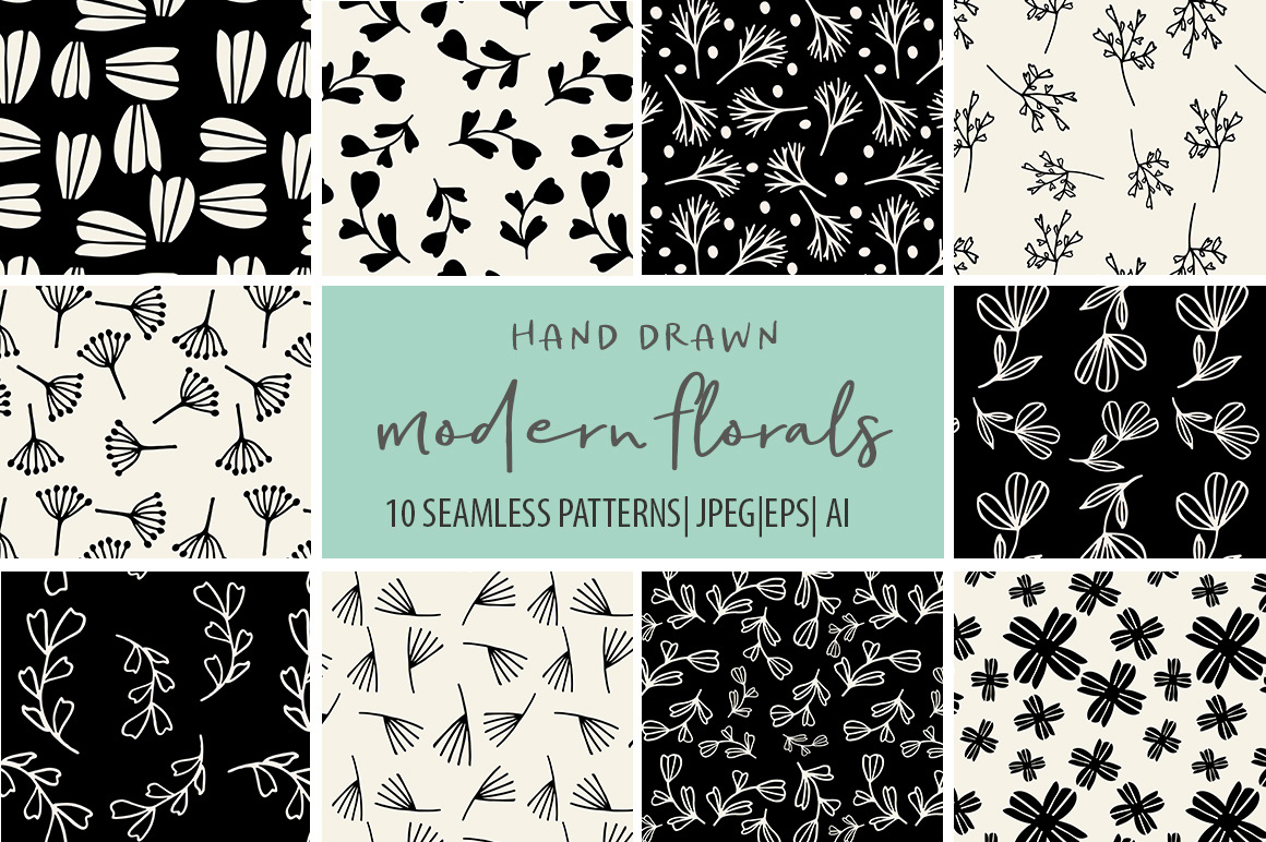 Modern Florals Seamless Patterns