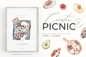 Picnic Creator Watercolor Food Set
