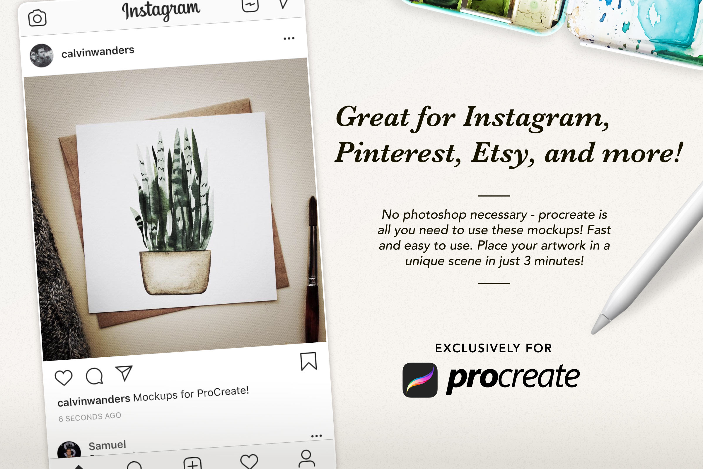 Procreate Artwork Mockups for Instagram